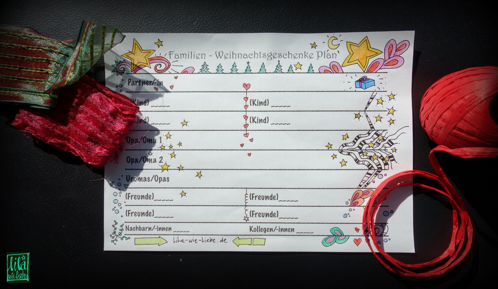Weihnachtsgeschenke Familien-Plan - Lila wie Liebe