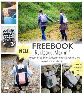 kostenloses Schnittmuster für Rucksack - Erwachsenen- und Kinderversion - minimalistisch