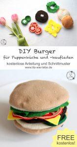 DIY Burger Kinderspielzeug für Kaufladen und Puppenküche selbst nähen