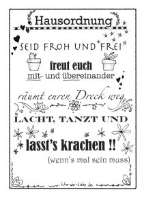 Hausordnung - free printable - Lila wie Liebe