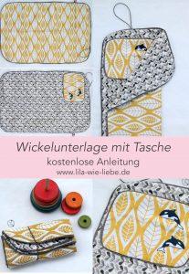 Wickelunterlage nähen, mit Tasche, selbstgenähte Wickeltasche Freebook