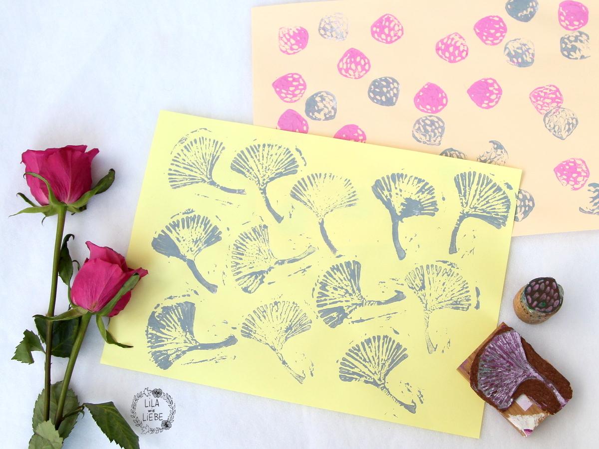 diy stempel herstellen stoff und papier bedrucken mit kindern lila wie liebe. Black Bedroom Furniture Sets. Home Design Ideas