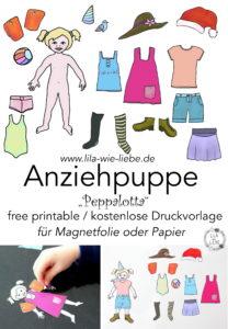 Anziehpuppe Peppalotta free printable - kostenlose Vorlage