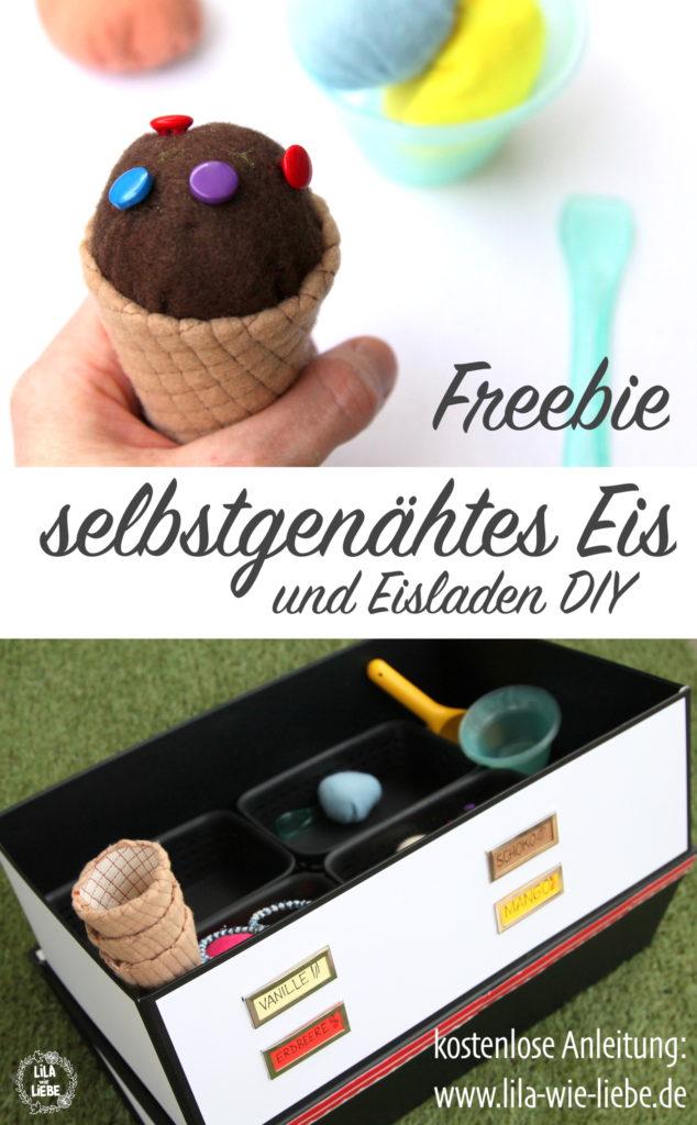 DIY Freebie selbstgenähtes Eis - Eiswaffel Schnittmuster - kostenlose Anleitung