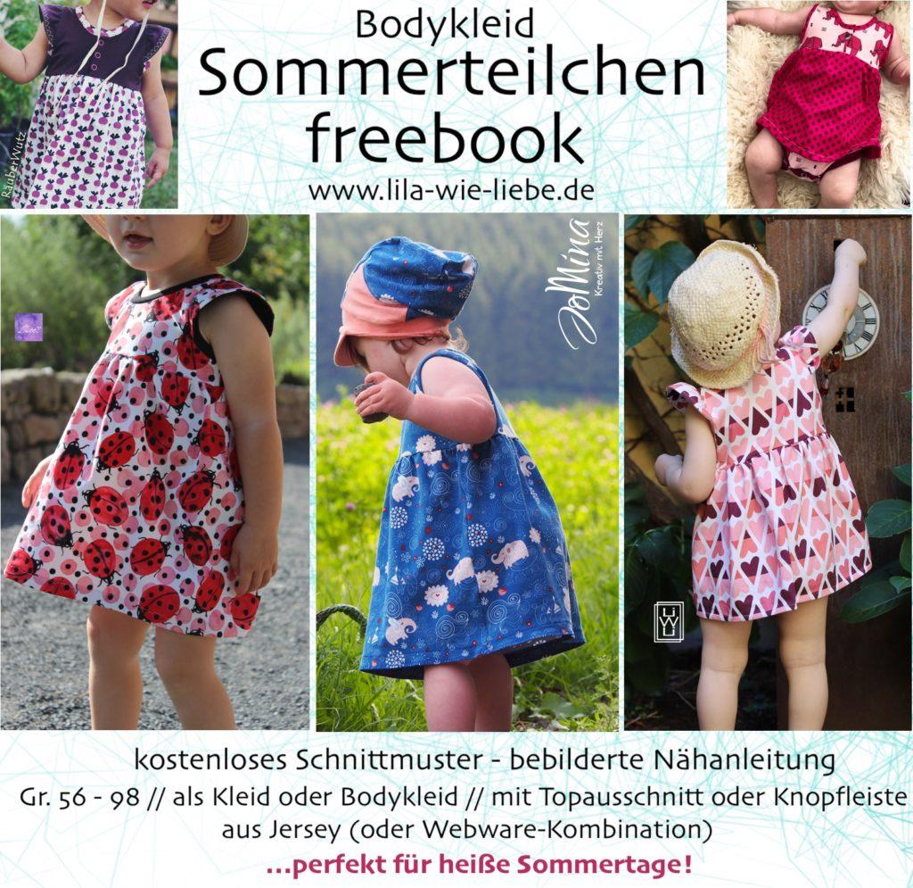 kostenloses Schnittmuster / Freebook Bodykleid Sommerteilchen Lila wie Liebe