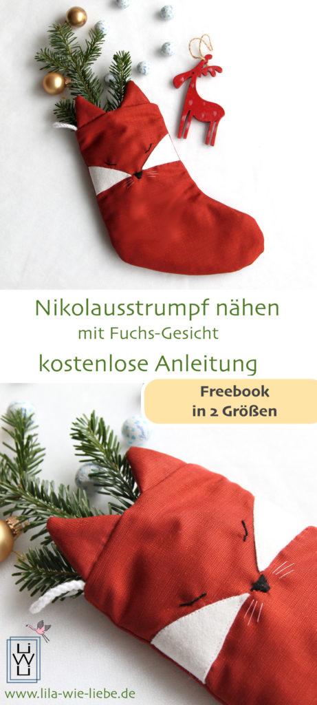 Nikolausstrumpf Nikolausstiefel fuchs Applikation freebook kostenlose Nähanleitung