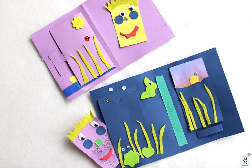 Tonpapier karten basteln mit Kindern
