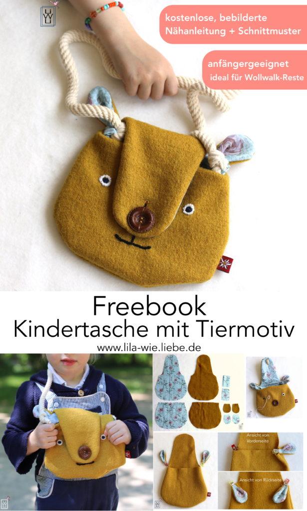 Bärentasche Tiermotiv Kindertasche nähen Freebook kostenlose Anleitung und Schnittmuster