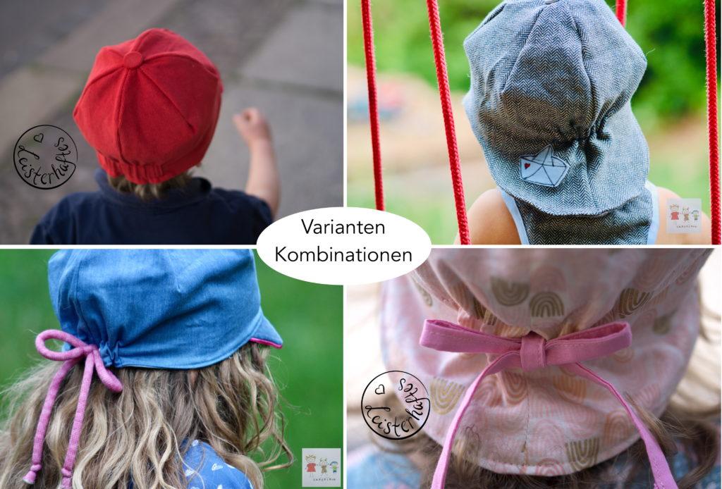 Sommermüzz Kindermütze Varianten mit und ohne Nackenschutz, mit Gummi oder Schleife