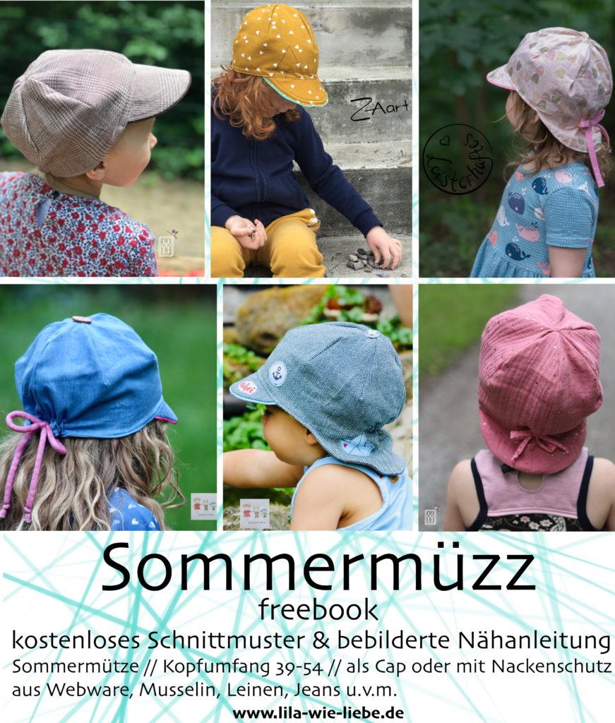 Sommermüzz Freebook - kostenlose Anleitung und Schnittmuster - Kindermütze - Lila wie Liebe