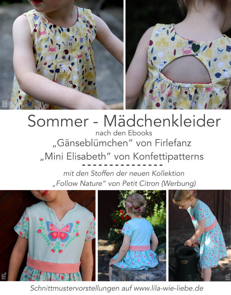 Mädchenkleid Sommer Schnittmuster Ebook Rezension Schnittmustervorstellungen Petit Citron Follow Nature Gänseblümchen Mini Elisabeth