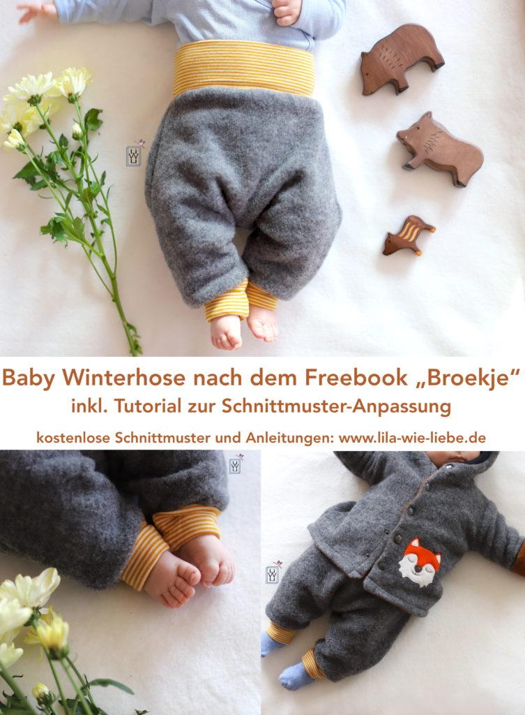 wollfleece Babyhose Winterhose baby nähen freebook kostenloses Schnittmuster