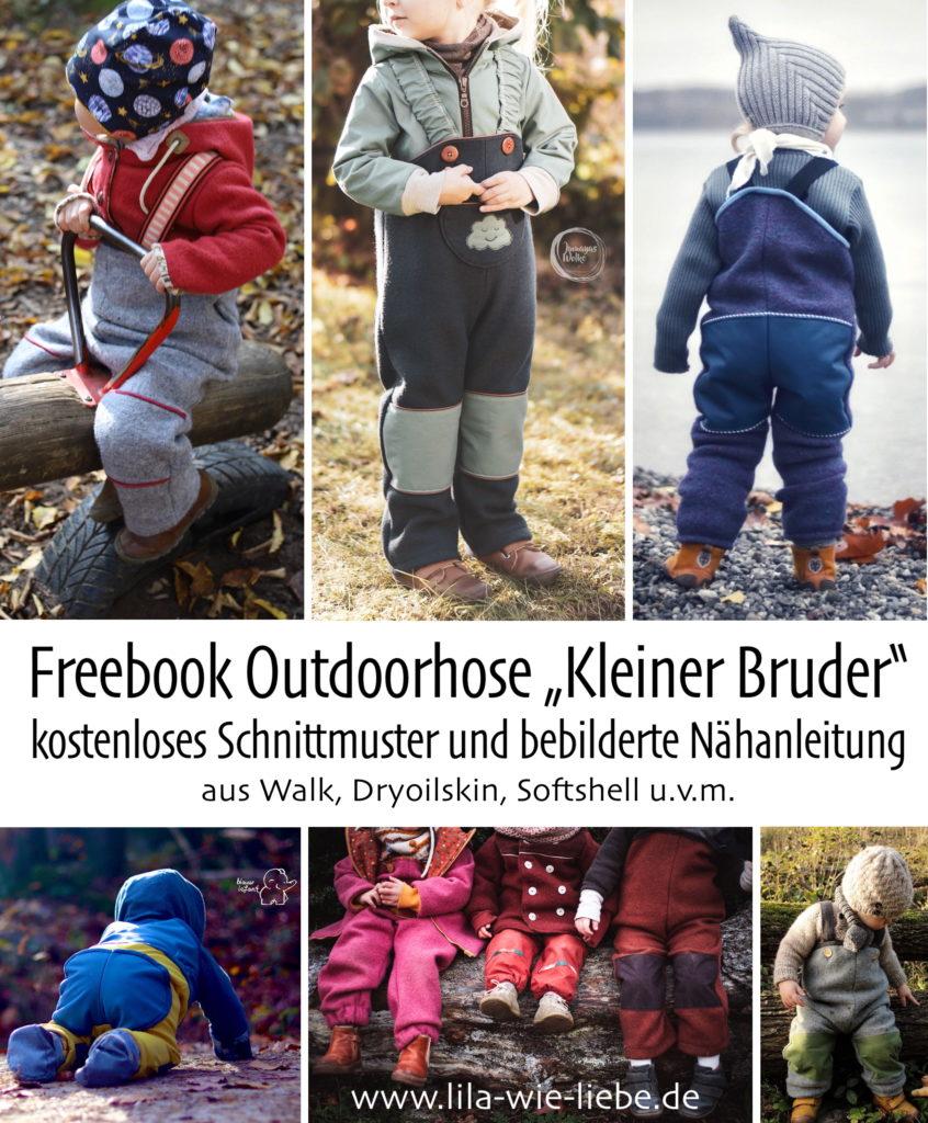 Freebook Kleiner Bruder kostenlose Nähanleitung Outdoorhose Kinderhose Walkhose Softshellhose Matschhose Lila wie Liebe
