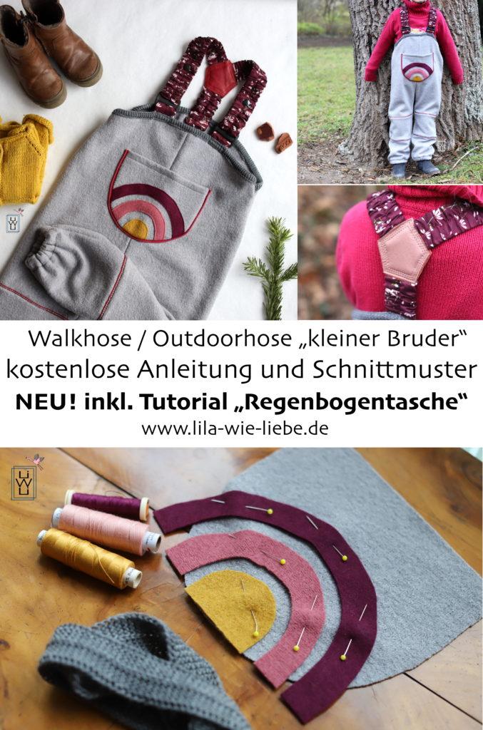 kleiner Bruder Freebook Outdoorhose für Kinder kostenlose Anleitung und Schnittmuster Bauchtasche Regenbogen
