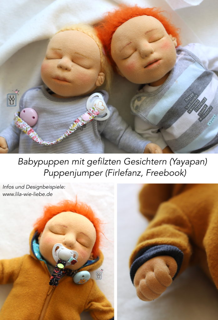 Babypuppe mit gefilztem Gesicht Stoffpuppe