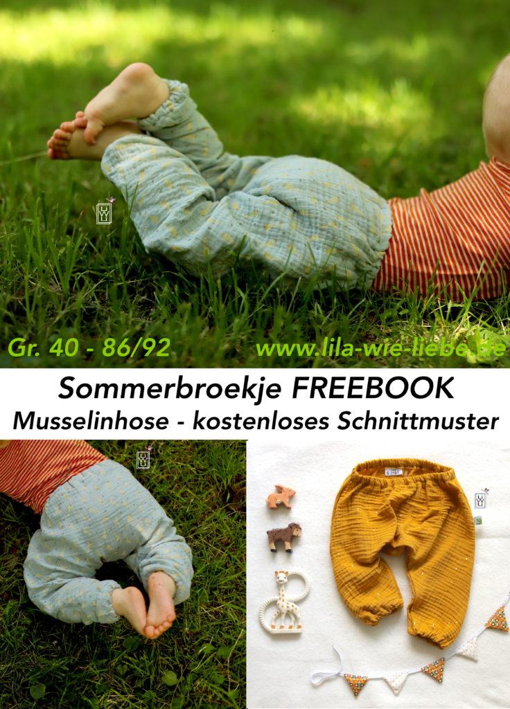 Musselinhose Sommerbroekje Freebook kostenloses Schnittmuster