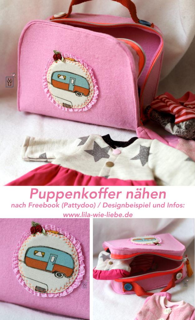 Puppenkoffer filz Filzkoffer nähen kostenloses Schnittmuster