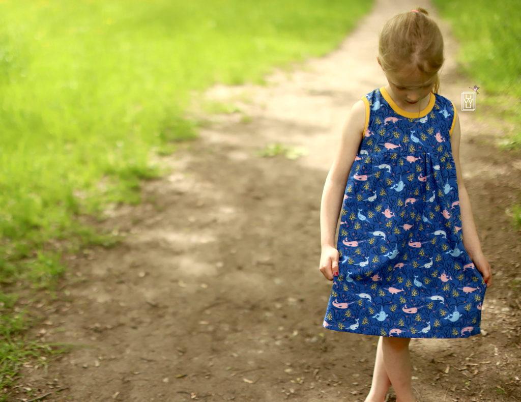 Sommerteilchen Kinderkleid im Sommer nähen, kostenloses Schnittmuster